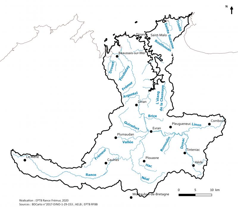Carte du territoire du SAGE RAnce Frémur Baie de Baussais